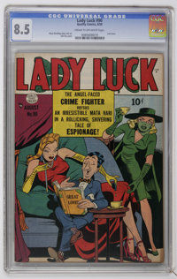 Lady Luck #90 (Quality, 1950) CGC VF+ 8.5 Cream to off-white pages. This is the last issue of the series and features a...