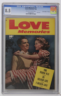 """Love Memories #1 Davis Crippen (""""D"""" Copy) pedigree (Fawcett, 1949) CGC VF+ 8.5 Off-white to pages. Photo cover..."""