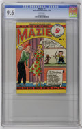 """Golden Age (1938-1955):Humor, Mazie #1 (Nationwide Publications, 1950) CGC NM+ 9.6 White pages. Mini comic measures 5"""" x 7.25"""". 52 pages. Teen-age humor. ..."""