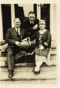 Basketball Collectibles:Others, 1930 James Naismith Family Photograph. Dr. Naismith, his wife, andhis son Jack pose with a basketball on the steps of thei...
