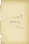 "Basketball Collectibles:Others, 1926 James Naismith Signed Book Page. Blank page removed from book holds identifying text that reads, ""Jas. Naismith, Lawre..."