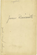 """Basketball Collectibles:Others, James Naismith Signed Book Page. Blank page removed from bookoffers a large 9+/10 black ink """"James Naismith"""" autograph. O..."""