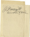 """Basketball Collectibles:Others, James Naismith Signed Cut Signature.. Variation: """"J. Naismith,Director of Work."""". Medium: Pencil on white paper, 9+/1..."""
