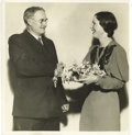 "Basketball Collectibles:Others, 1935 James Naismith Signed Photograph. Fine 8x8"" photograph of Dr.Naismith shaking hands with a pretty young lady has iden..."