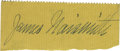 """Basketball Collectibles:Others, James Naismith Signed Cut Signature from Check.. Variation: """"JamesNaismith."""". Medium: Blue fountain pen ink on yellow p..."""
