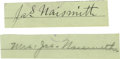 """Basketball Collectibles:Others, James Naismith & Wife Signed Cut Signatures from Checks.. Variations: """"Jas. Naismith"""" & """"Mrs. Jas. Naismith."""". Medium: B..."""