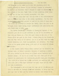 "Basketball Collectibles:Others, 1924 James Naismith Typed Speech with Handwritten Notes re: ""TheLumberjack."" Twenty-five typed pages represent an early (w..."
