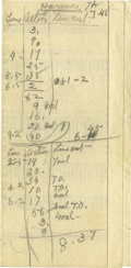 Basketball Collectibles:Others, 1925 James Naismith Handwritten Basketball Game Summary. Verso of a1925 Missouri Valley Conference basketball schedule (7x...
