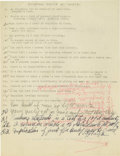 Basketball Collectibles:Others, 1930's James Naismith Typed Manuscript with Handwritten Notes re:Education. Fifteen typed pages with numerous handwritten ...