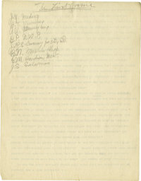 1930's James Naismith Typed Manuscript with Handwritten Notes re: Invention of Basketball. Eight typed pages with numero...