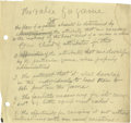 """Basketball Collectibles:Others, 1930's James Naismith Typed Manuscript with Handwritten Notes re:""""The Spread of Basketball."""" Six typed pages entitled """"The..."""
