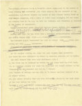 """Basketball Collectibles:Others, 1938 James Naismith Typed Manuscript with Handwritten Notes re: """"Basketball in 1938."""" Five typed pages with numerous handwr..."""