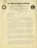 Basketball Collectibles:Others, 1930 Letter to James Naismith re: Professional Basketball withNaismith's Typed Response. Thrilling three-page letter from a...