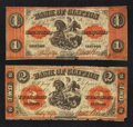 Canadian Currency: , Clifton, PC- Bank of Clifton $1 Sept. 1, 1861 Ch. # 125-12-06.Clifton, PC- Bank of Clifton $2 Sept. 1, 1861 Ch. # 125-1...(Total: 2 notes)