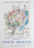 Prints:European Modern, After MARC CHAGALL (Belorussian, 1887-1985). Hommage a LouisAragon, 1971. Offser lithographic exhibition poster. 26-1/2...