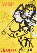 Prints, After MARC CHAGALL (Belorussian, 1887-1985). Galerie Maeght. Chagall. Offset lithographic exhibition poster. 27 x 19 inc...