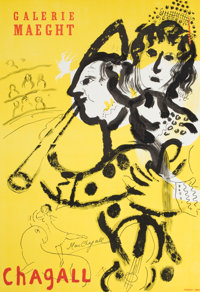 After MARC CHAGALL (Belorussian, 1887-1985) Galerie Maeght. Chagall Offset lithographic exhibition p