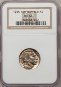 Buffalo Nickels, 1938-D/D 5C Type 1 MS66 NGC....