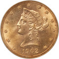 Liberty Eagles: , 1902 $10 MS63 PCGS. PCGS Population (97/24). NGC Census: (76/26).Mintage: 82,400. Numismedia Wsl. Price for problem free N...