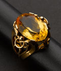 Estate Jewelry:Rings, Large Citrine Gold Ring. ...
