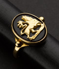 Estate Jewelry:Rings, Stricking Onyx & Gold Lion Ring. ...