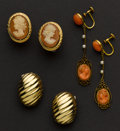 Estate Jewelry:Earrings, Three Pairs of Earrings, Gold, Shell & Coral Cameos. ...