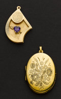 Estate Jewelry:Pendants and Lockets, Two 14k Gold Pendants. ... (Total: 2 Items)