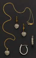 Estate Jewelry:Suites, Diamond Earring & Necklace Suite & White Gold DiamondEarrings. ...