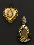 Estate Jewelry:Pendants and Lockets, Gold Cameo Locket & Large Citrine Pendant. ...