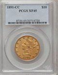 Liberty Eagles: , 1891-CC $10 XF45 PCGS. PCGS Population (93/1831). NGC Census:(76/2126). Mintage: 103,732. Numismedia Wsl. Price for proble...