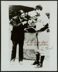 Baseball Collectibles:Photos, George H.W. Bush Signed Photograph - Yale Photo with Babe Ruth....