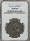 Colonials, Undated PENNY Washington Liberty & Security Penny AU58 NGC.Plain Rims, Baker-30, W-11050, R.2....