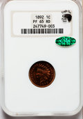 Proof Indian Cents, 1892 1C PR65 Red NGC. CAC....