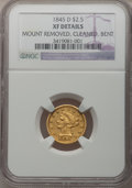 Liberty Quarter Eagles: , 1845-D $2 1/2 -- Bent, Cleaned, Mount Removed -- NGC Details. XF.NGC Census: (6/135). PCGS Population (26/87). Mintage: 19...