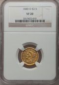 Liberty Quarter Eagles: , 1840-O $2 1/2 VF20 NGC. NGC Census: (1/112). PCGS Population(0/75). Mintage: 33,500. Numismedia Wsl. Price for problem fre...