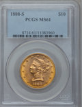 Liberty Eagles: , 1888-S $10 MS61 PCGS. PCGS Population (282/584). NGC Census:(710/580). Mintage: 648,700. Numismedia Wsl. Price for problem...