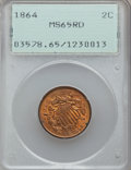 Two Cent Pieces, 1864 2C Large Motto MS65 Red PCGS....