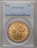 Liberty Double Eagles: , 1898 $20 MS61 PCGS. PCGS Population (369/667). NGC Census:(503/822). Mintage: 170,300. Numismedia Wsl. Price for problem f...