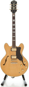 Musical Instruments:Electric Guitars, Circa 180's Epiphone Sheraton Natural Semi-Hollow Body Electric Guitar, Serial #2091920....