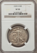 Walking Liberty Half Dollars: , 1929-D 50C VF35 NGC. NGC Census: (7/702). PCGS Population(18/1173). Mintage: 1,001,200. Numismedia Wsl. Price for problem...