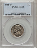 Jefferson Nickels: , 1955-D 5C MS65 PCGS. PCGS Population (375/30). NGC Census:(127/87). Mintage: 74,464,096. Numismedia Wsl. Price for problem...