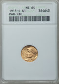 Commemorative Gold: , 1915-S G$1 Panama-Pacific Gold Dollar MS64 ANACS. NGC Census:(1070/1397). PCGS Population (1635/1981). Mintage: 15,000. Nu...