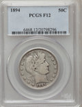 Barber Half Dollars: , 1894 50C Fine 12 PCGS. PCGS Population (6/203). NGC Census:(1/152). Mintage: 1,148,972. Numismedia Wsl. Price for problem ...