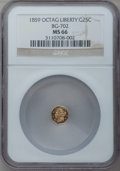 California Fractional Gold: , 1859 25C Liberty Octagonal 25 Cents, BG-702, R.3, MS66 NGC. NGCCensus: (19/2). PCGS Population (2/0). (#10529)...