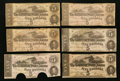 Confederate Notes:1862 Issues, T53 $5 1862 Six Examples.. ... (Total: 6 notes)