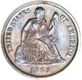 Seated Dimes, 1863 10C MS66 PCGS....