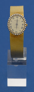 Timepieces:Wristwatch, Baume & Mercier For Tiffany Lady's Gold & DiamondWristwatch. ...