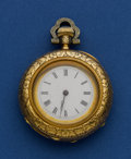 Timepieces:Pocket (pre 1900) , Swiss 36 mm 18k Gold Pocket Watch With Rose & Green Lyre &Leaf Motif. ...