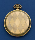 Timepieces:Pocket (post 1900), Swiss 51 mm 14k Gold Hunters Case, Fancy Dial. ...