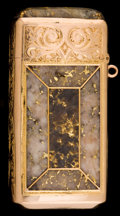 Silver Smalls:Match Safes, A SHREVE & CO. 14K GOLD AND GOLD QUARTZ MATCH SAFE . Shreve& Co., San Francisco, California, circa 1880. Unmarked. 2-1/4in...